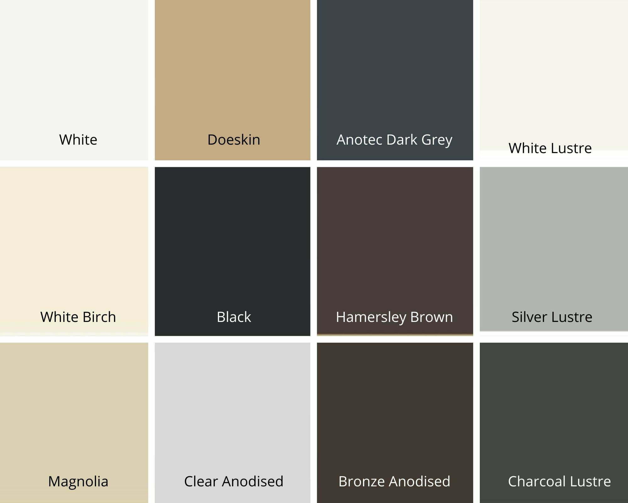 security door standard colour chart