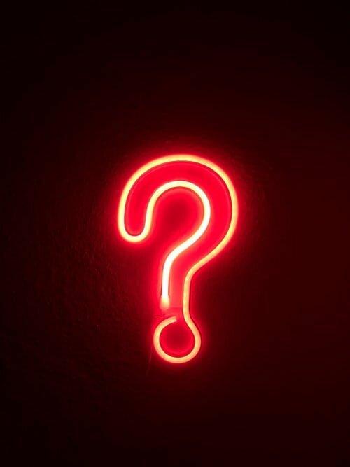 neon lit question mark
